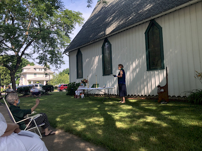 Mother Barbara conducts an outdoor service, Summer 2020.